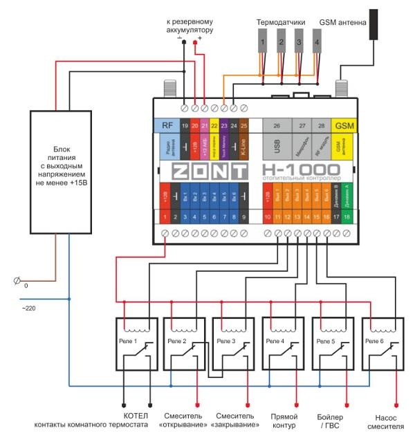 Схема подключения ZONT H-1000